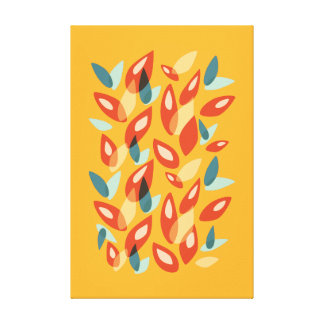 Orange Blue Yellow Abstract Autumn Leaves Pattern Canvas Print