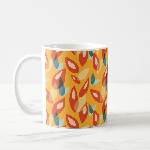 Orange Blue Yellow Abstract Autumn Leaves Pattern