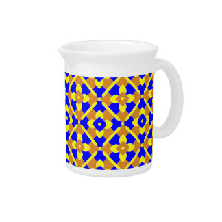 Orange Blue Yellow Spanish Style Tile Pattern Beverage Pitcher