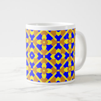 Orange Blue Yellow Spanish Style Tile Pattern Large Coffee Mug