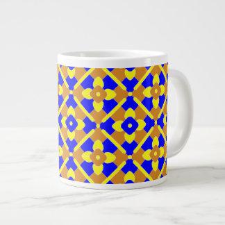 Orange Blue Yellow Spanish Style Tile Pattern 20 Oz Large Ceramic Coffee Mug
