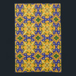 "Orange Blue Yellow Spanish Tile Kitchen Towel<br><div class=""desc"">Add this colorful Spanish tile pattern kitchen towel to the rest of your kitchen decor. Keep an eye out for matching placemats,  napkins and other kitchen decor items!</div>"