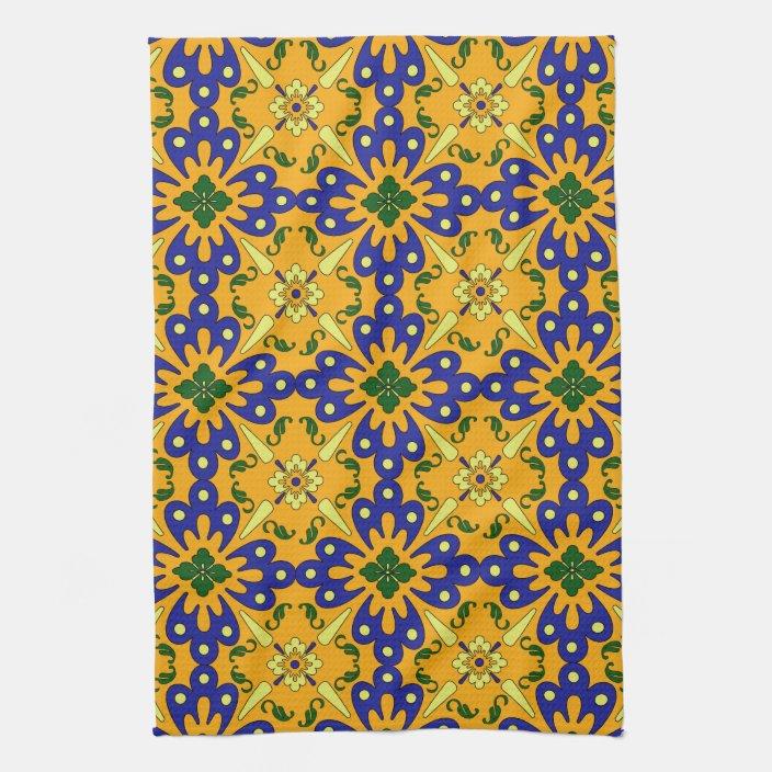 Orange Blue Yellow Spanish Tile Kitchen Towel Zazzle Com