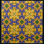 "Orange Blue Yellow Spanish Tile Pattern Napkin<br><div class=""desc"">Decorate your home with this floral,  yellow and blue - Spanish tile pattern napkins.  For matching Spanish tile pattern home decor visit the rest of this shop.</div>"