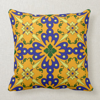 Orange Blue Yellow Spanish Tile Pattern Throw Pillow