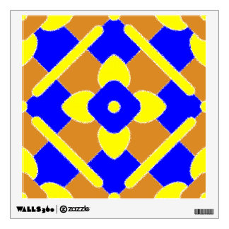 Orange Blue Yellow Spanish Tile Pattern Wall Sticker