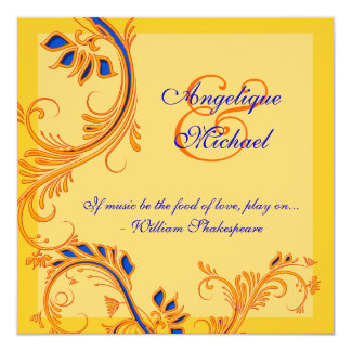 Orange blue yellow wedding anniversary engagement 5.25x5.25 square paper invitation card