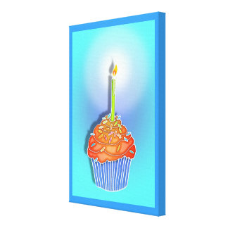 Orange & Blueberry BIRTHDAY CUPCAKE & CANDLE Galle Gallery Wrap Canvas