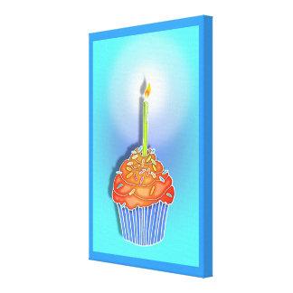 Orange & Blueberry BIRTHDAY CUPCAKE & CANDLE Galle Canvas Print