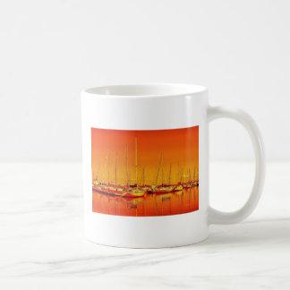 Orange Boats Reflections Classic White Coffee Mug