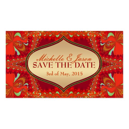 Orange Bohemian Save the Date Business Card sized
