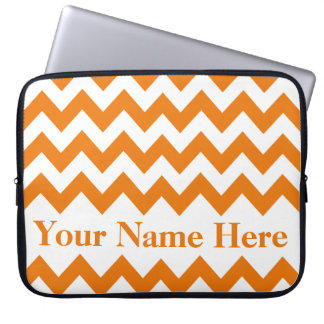 Orange Bold Chevron with customizable text Laptop Sleeve
