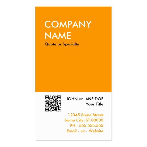 orange bold design your own QR code Business Card