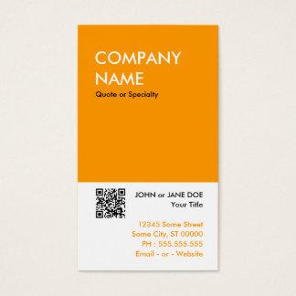 orange bold design your own QR code Business Card