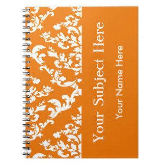 Orange Bold Mod Damask w/ custom text Spiral Notebook