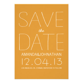Orange Bold Modern Photo Save The Date Invites