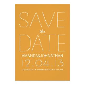 "Orange Bold Modern Photo Save The Date Invites 5"" X 7"" Invitation Card"