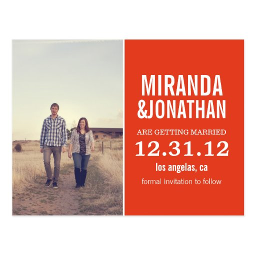 Orange Bold Photo Save The Date Post Cards
