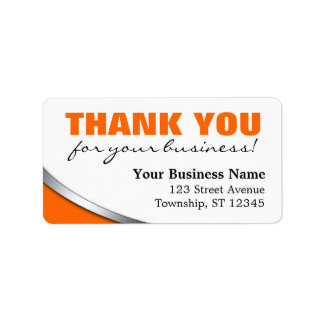 """Orange Bold """"Thank you for your Business"""" Labels"""