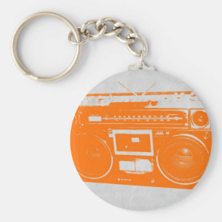 Orange Boom Box Basic Round Button Keychain