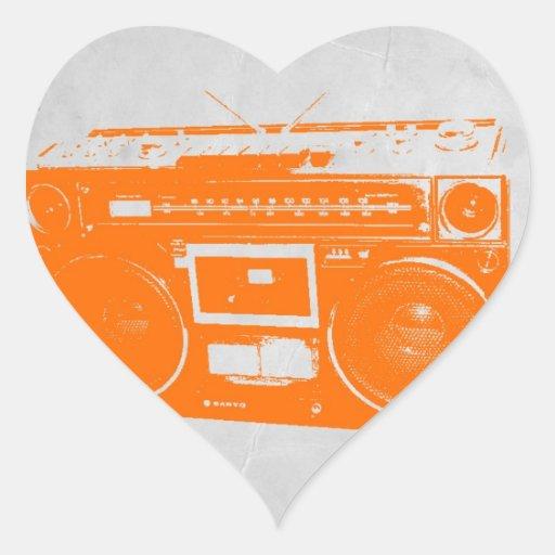 Orange Boom Box Heart Sticker