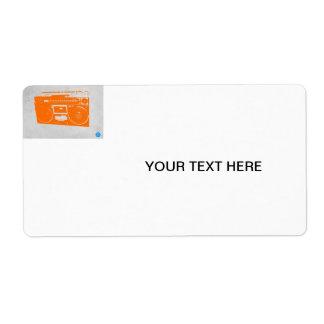 Orange Boom Box Shipping Label