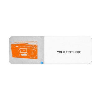Orange Boom Box Return Address Label