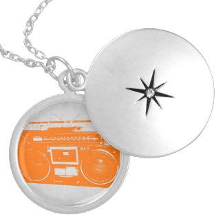 Orange Boom Box Silver Plated Necklace