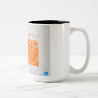 Orange Boom Box Two-Tone Coffee Mug