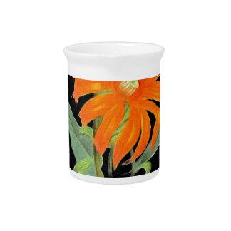 Orange Botanical Vintage Flowers Beverage Pitchers