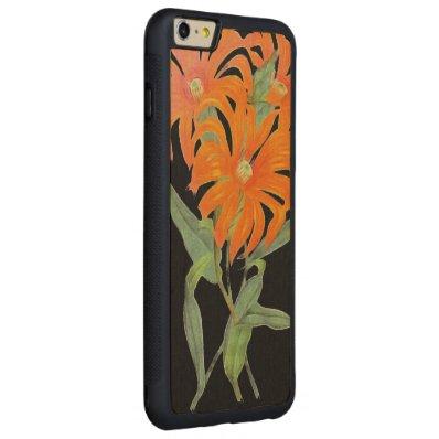 Orange Botanical Vintage Flowers Carved® Maple iPhone 6 Plus Bumper Case