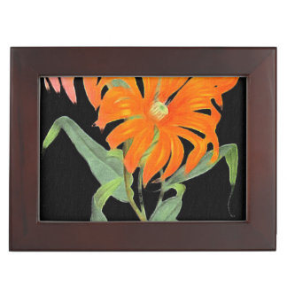 Orange Botanical Vintage Flowers Keepsake Box