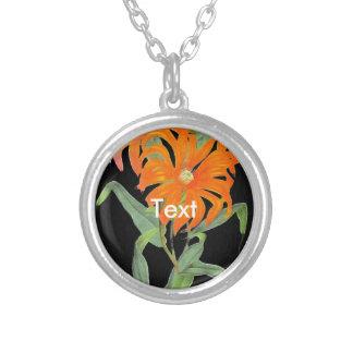 Orange Botanical Vintage Flowers Round Pendant Necklace