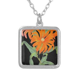 Orange Botanical Vintage Flowers Square Pendant Necklace