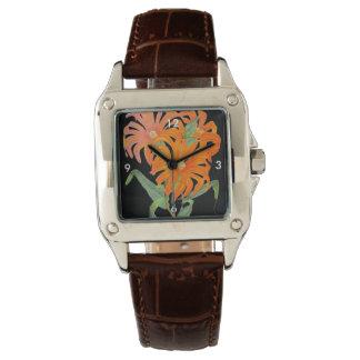Orange Botanical Vintage Flowers Wrist Watch