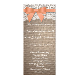 Orange bow burlap and Lace wedding programs