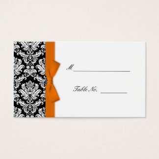 Orange Bow Damask Wedding Placecards Business Card