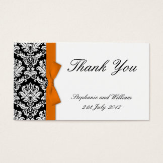 Orange Bow Damask Wedding Thank You Cards