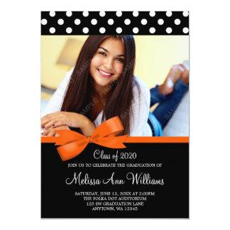 Orange Bow Polka Dot Photo Graduation Announcement