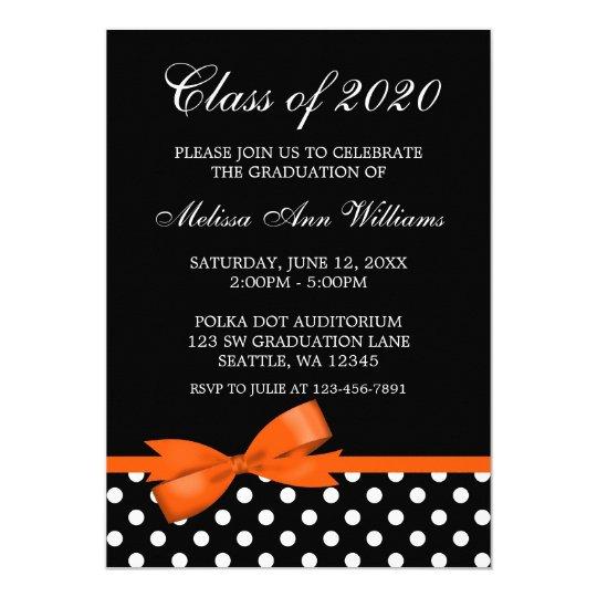 Orange Bow Polka Dots Graduation Announcement