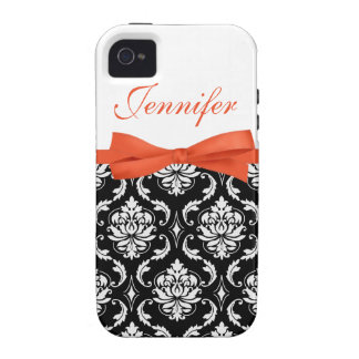 Orange Bow with Damask and First Name iPhone Case iPhone 4/4S Case