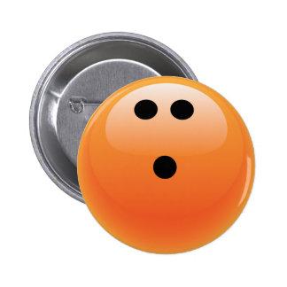 ORANGE BOWLING BALL 2 INCH ROUND BUTTON