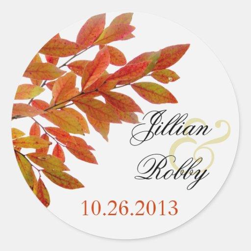 Orange Branches Fall Wedding Labels Classic Round Sticker