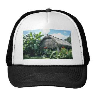 Orange Bri-Bri thatched roof cabin flowers Trucker Hats