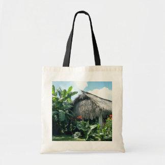 Orange Bri-Bri thatched roof cabin flowers Canvas Bag