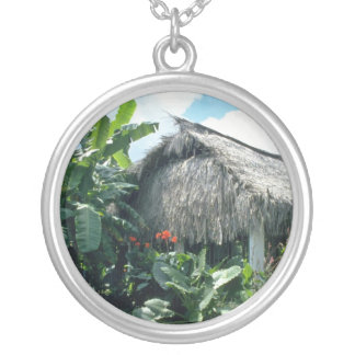 Orange Bri-Bri thatched roof cabin flowers Custom Necklace