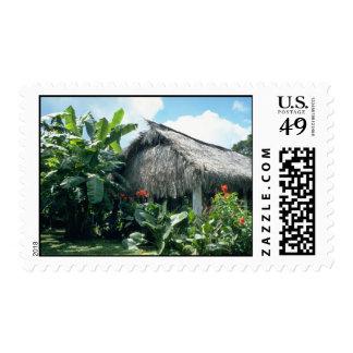 Orange Bri-Bri thatched roof cabin flowers Stamps