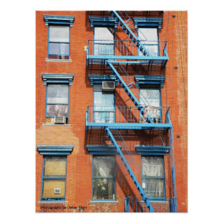 Orange Brick With Blue Fire Escape, NYC Poster