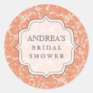 Orange Bridal Shower Dessert Table Tag Label