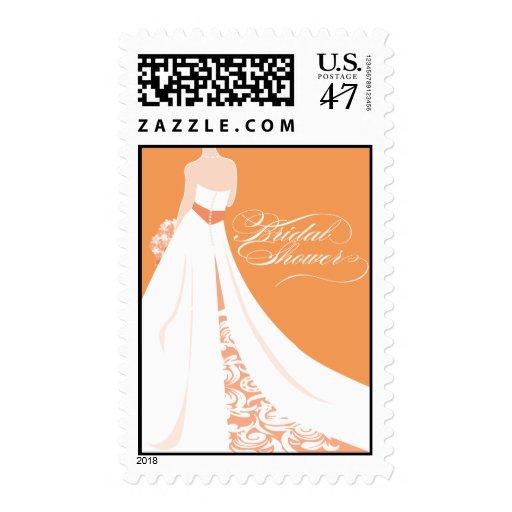 Orange Bridal Shower Postage Stamp